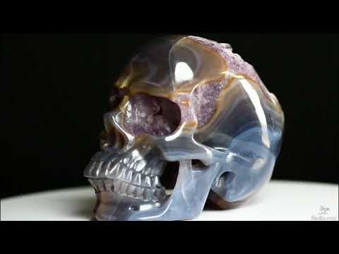 High-quality Uncommon Kindly 5.1″ Amethyst Geode Agate Carved Crystal Cranium Sculpture