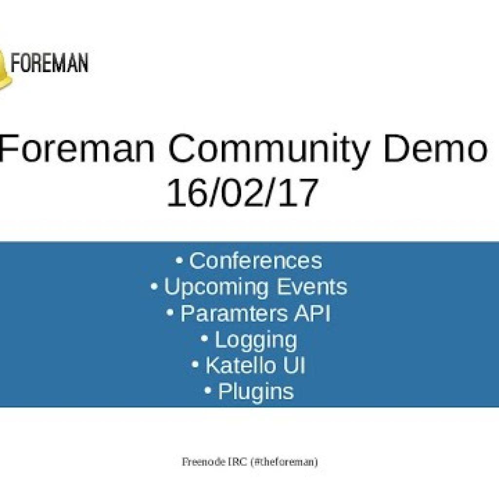 Foreman Neighborhood Demo – sixteenth February 2017