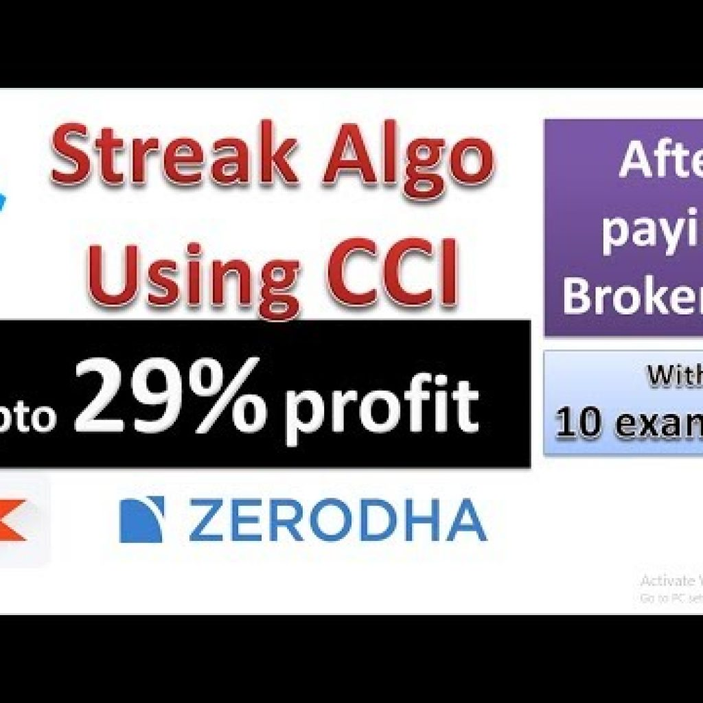 cci intro and streak algo of zerodha Commodity Channel Index with enormous earnings and reduced end decline