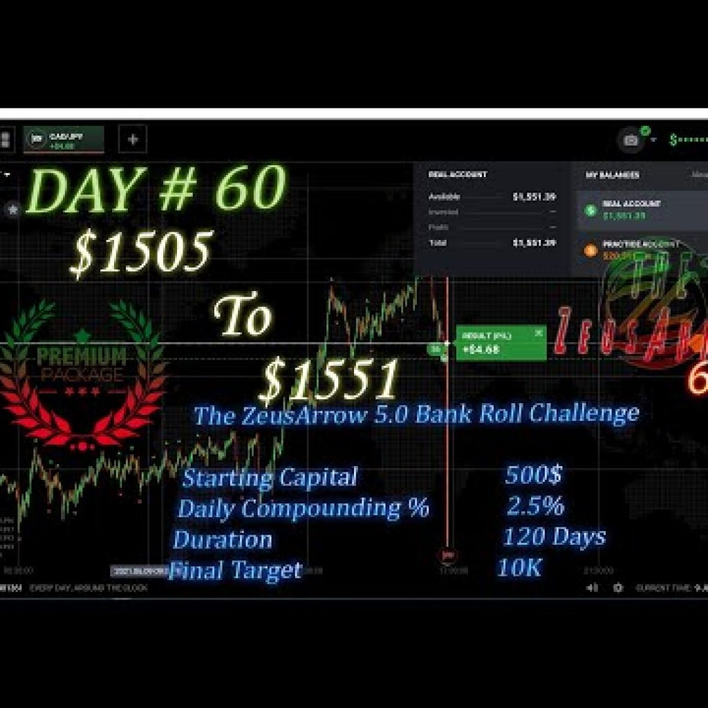 The ZeusArrow 5. Indicator   IQ Possibility Live Buying and selling   Bank Roll a hundred and twenty Days Challenge   Working day # sixty